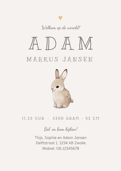 Geboortekaartje unisex lief konijntje hartjes goud herfst 3