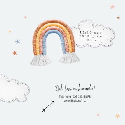 Geboortekaartje unisex regenboog stof sterren wolken foto 2