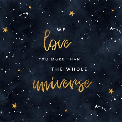 Geboortekaartje universum met sterren en foto 2