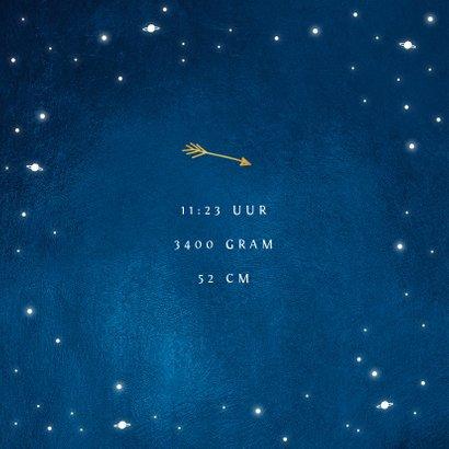 Geboortekaartje universum sterren foto goud  2