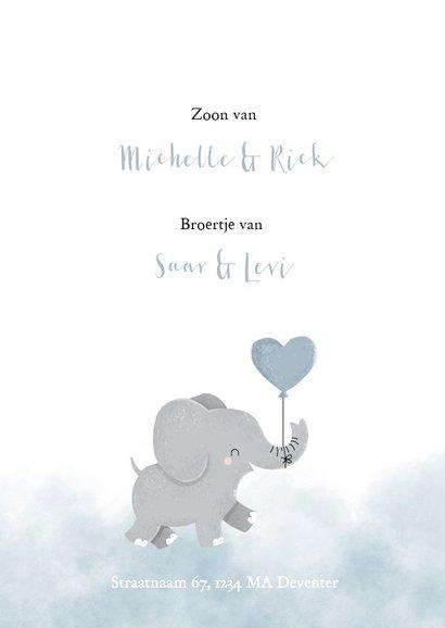 Geboortekaartje voor een jongen met olifantje en waterverf 2