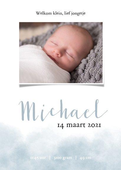 Geboortekaartje voor een jongen met olifantje en waterverf 3
