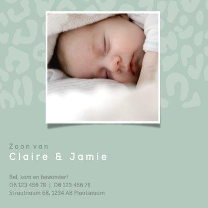 Geboortekaartje voor een jongen met panterprint en hartje 2
