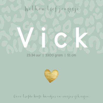 Geboortekaartje voor een jongen met panterprint en hartje 3