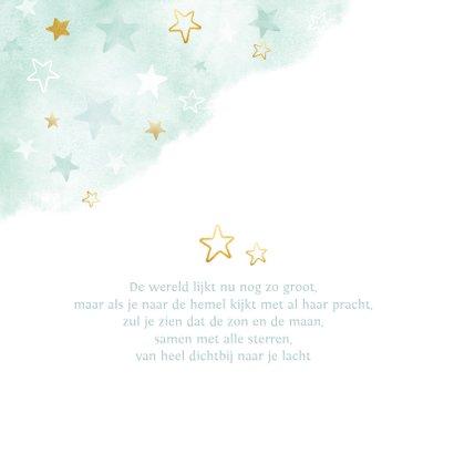 geboortekaartje voor een jongen sterren waterverf en goud 2