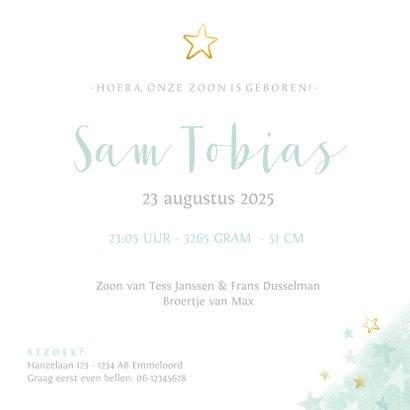 geboortekaartje voor een jongen sterren waterverf en goud 3