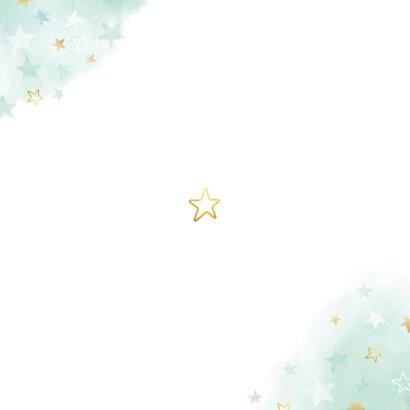 geboortekaartje voor een jongen sterren waterverf en goud Achterkant