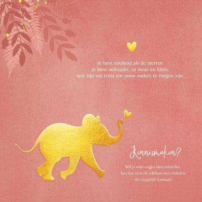Geboortekaartje voor een meisje Jungle met gouden olifant  2