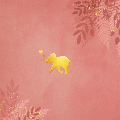 Geboortekaartje voor een meisje Jungle met gouden olifant  Achterkant