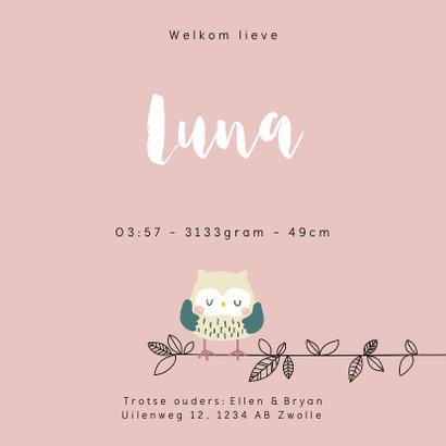 Geboortekaartje voor een meisje met uilenfamilie 3