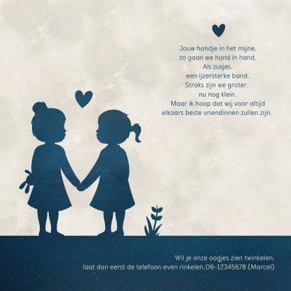 Geboortekaartje voor een meisjes tweeling silhouette in maan 2