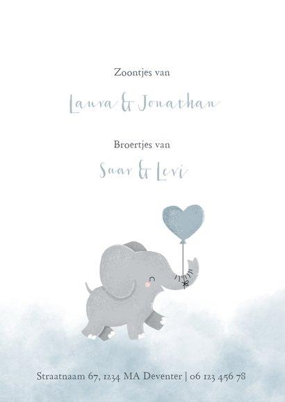 Geboortekaartje voor een tweeling met olifantje en waterverf 2