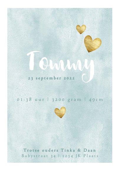 Geboortekaartje voor jongen met waterverf en gouden hartjes 3