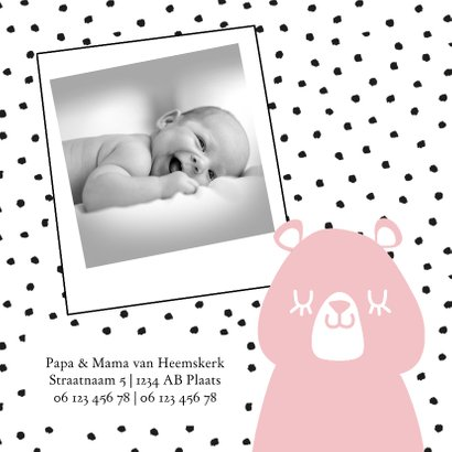 Geboortekaartje voor meisje met beren en naambordje 2