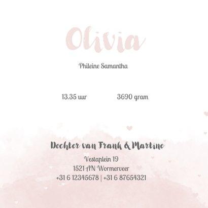 Geboortekaartje voor meisjes met waterverf en roze hartjes 3