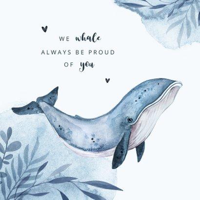 Geboortekaartje walvis blauw water hartjes waterverf 2
