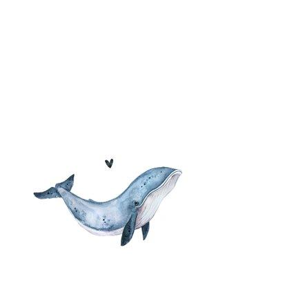 Geboortekaartje walvis hip illustratie eenvoudig 2