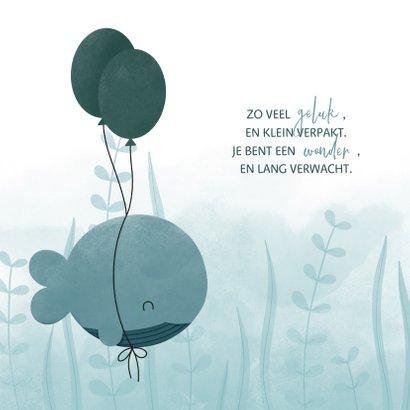 Geboortekaartje walvis met ballonnen en waterverf 2