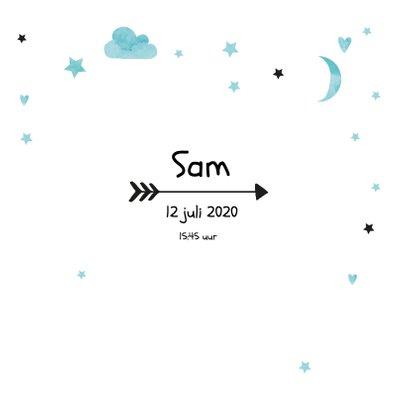 Geboortekaartje watercolour Sam 3