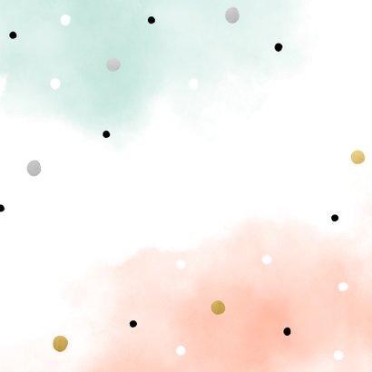 Geboortekaartje waterverf confetti combi voor meerling Achterkant