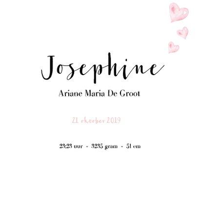 Geboortekaartje waterverf hartje Josephine 3