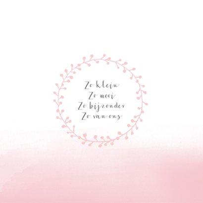 Geboortekaartje waterverf roze kransje 2