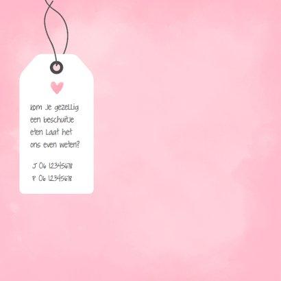 Geboortekaartje waterverf roze  2