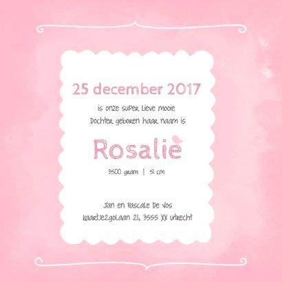 Geboortekaartje waterverf roze  3