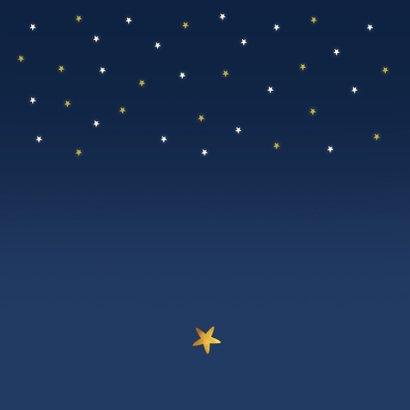 Geboortekaartje wereldbol sterren foto vallende ster Achterkant
