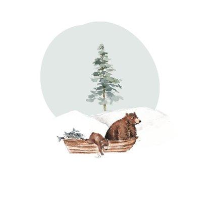 Geboortekaartje winter beren in een bootje 2