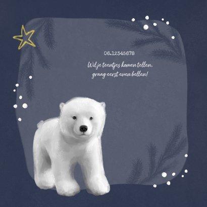 Geboortekaartje winter ijsbeer jongen goud hartje 2