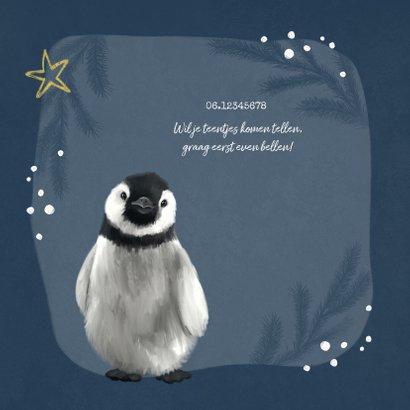 Geboortekaartje winter pinguin goud sterren hartje 2