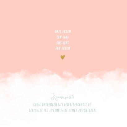 Geboortekaartje wolken hartje meisje 2
