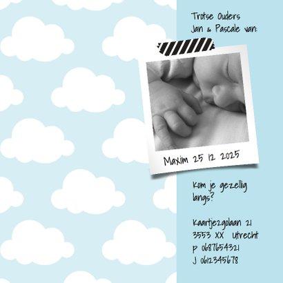 Geboortekaartje wolkje Hello Sweet Baby Boy 2