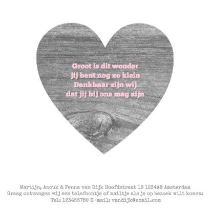 Geboortekaartje Wood&Hearts Girl 3