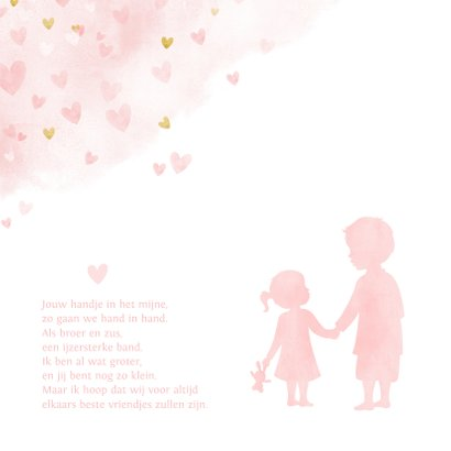 Geboortekaartje zusje en broer - waterverf met roze hartjes 2