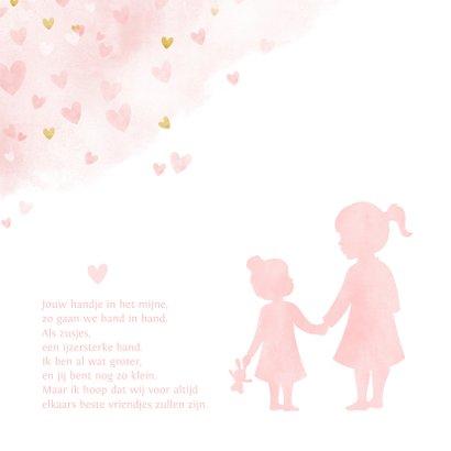 Geboortekaartje zusje - waterverf met roze en gouden hartjes 2