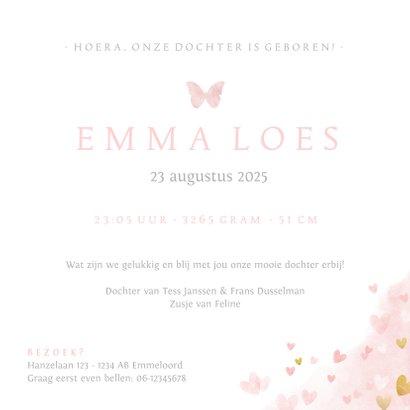 Geboortekaartje zusje - waterverf met roze en gouden hartjes 3