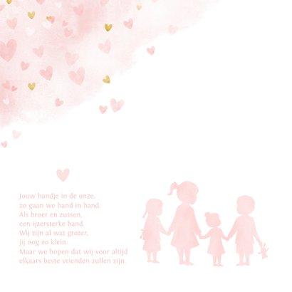 Geboortekaartje zusjes en broertje waterverf roze hartjes 2