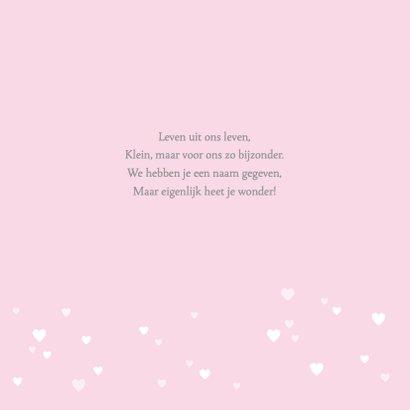 Geboortekaartje zwaantje roze hartjes 2
