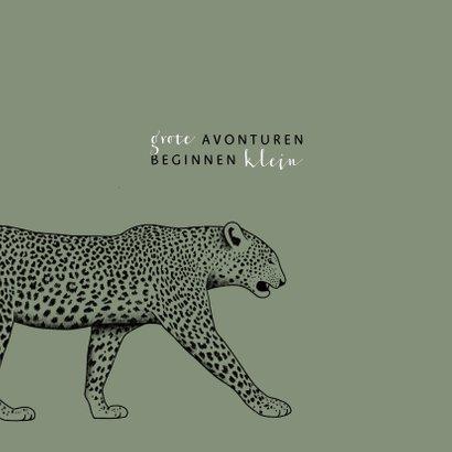 Geboortekaartje zwart/wit leopard met spetters 2