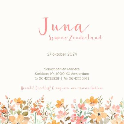 Geboortekaartjes - Beertje met bloemen meisje 3