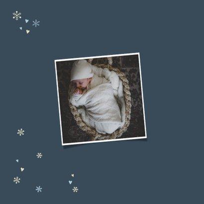 Geboortekaartjes met sneeuwvlokjes en hartjes 2