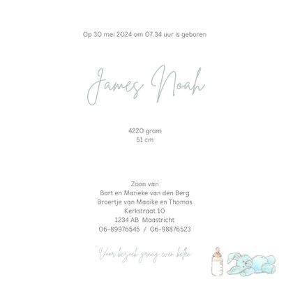 Geboortekaartjes - Pentekening baby met papieren hoedje 3