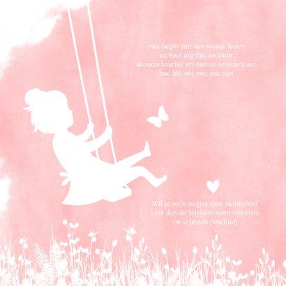 Geboortekaartjes silhouet meisje op schommel met vlinders 2