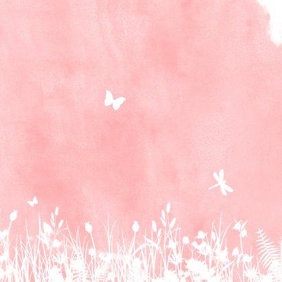 Geboortekaartjes silhouet meisje op schommel met vlinders Achterkant