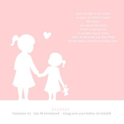 Geboortekaartjes silhouetten van grote en kleine zus 2