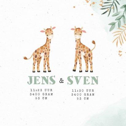 Geboortekaartjes tweeling giraf dieren botanisch goud 3