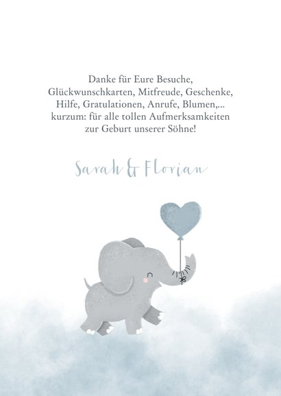 Geburts-Danksagung Zwilling Fotos & hellblauer Elefant 2