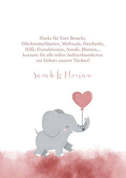 Geburts-Danksagung Zwilling Fotos & rosa Elefant 2